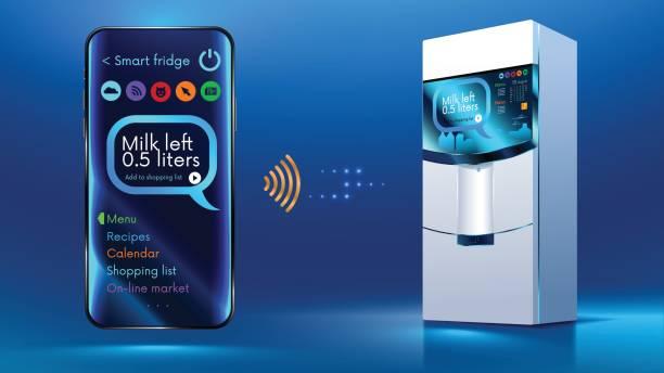 intelligente kühlschrank iot - kühlschränke stock-grafiken, -clipart, -cartoons und -symbole