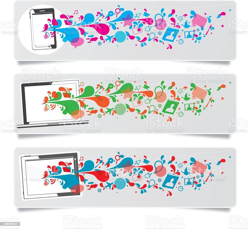 Smart gadget technology banners vector art illustration