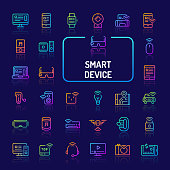 Simple gradient color icons isolated over dark background related to smart gadgets & electronic devices. Vector signs and symbols collections for website and app..
