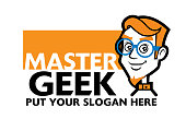 istock Smart Geek character wears a spec with business name signage - vector logo 1180989524