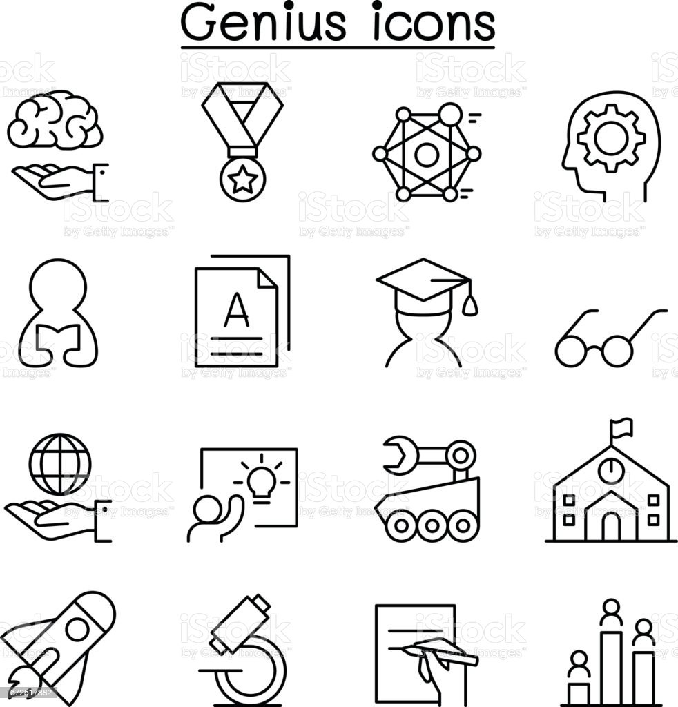 Smart, Genius, Learning & education icon set in thin line style vector art illustration
