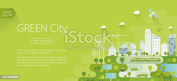 istock Smart Green City Banner 542569686