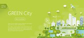 Green city banner - template. Nicely layered.