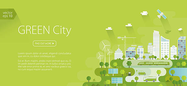 Smart Green City Banner Green city banner - template. Nicely layered. sustainable energy stock illustrations
