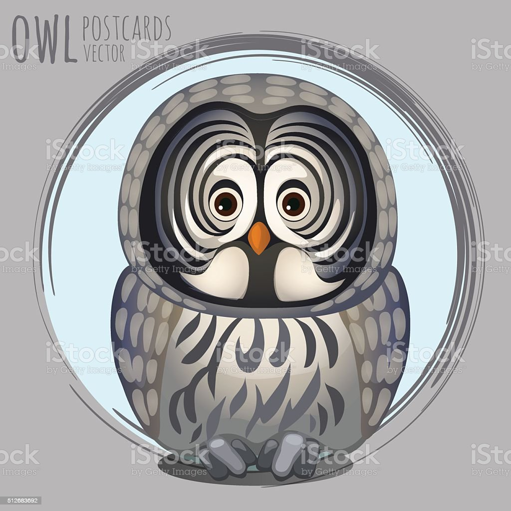 Smart grey owl, vector cartoon series vector art illustration