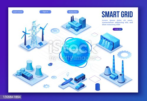 istock Smart grid 3d isometric infographics, blue neon concept with solar panels and electricity pole, nuclear and thermal power plant, hydroelectric power station, transport system, globe 3d isometric icon, 1205841854