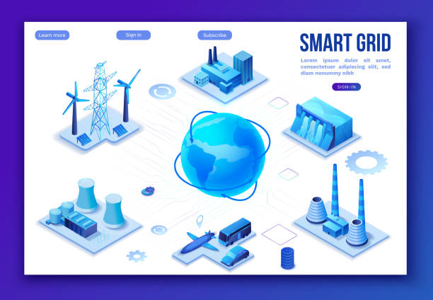 Smart grid 3d isometric infographics, blue neon concept with solar panels and electricity pole, nuclear and thermal power plant, hydroelectric power station, transport system, globe 3d isometric icon, vector art illustration