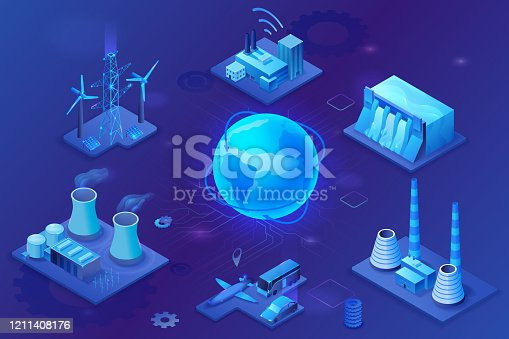 istock Smart grid 3d isometric infographics, blue neon concept with solar panels and electricity pole, nuclear and thermal power plant, hydroelectric power station, transport system, globe 3d isometric icon, 1211408176