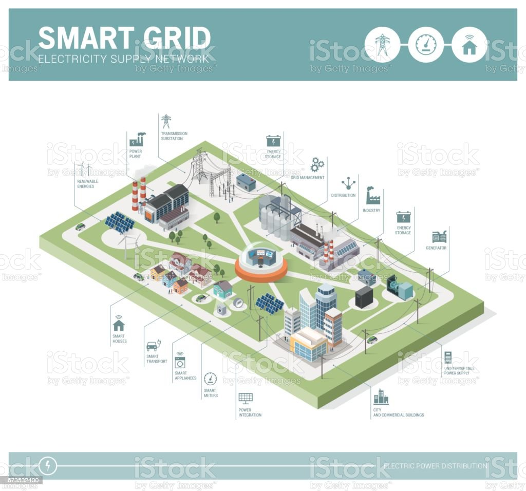 Smart grid and power supply vector art illustration