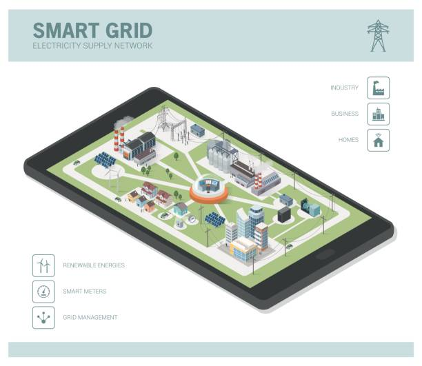 Smart grid and power supply Smart grid network, power supply and renewable resources infographic with isometric buildings on a smartphone augmented reality sustainable stock illustrations