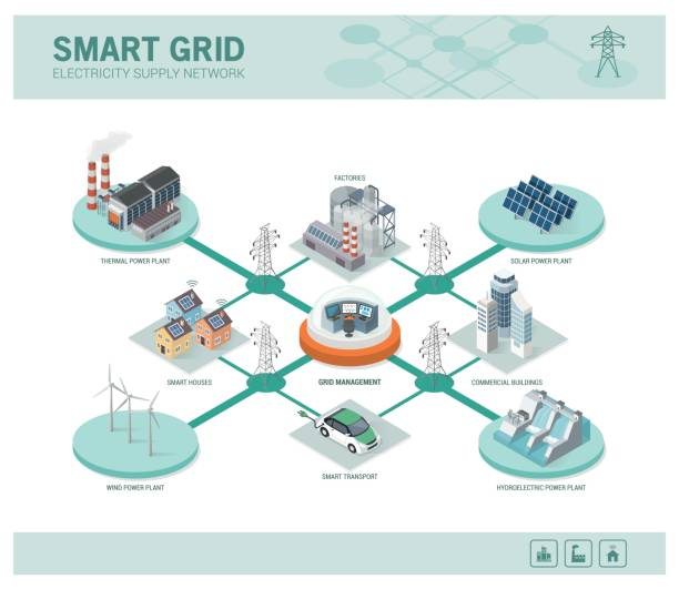 smart grid and power supply - industry infographics stock illustrations