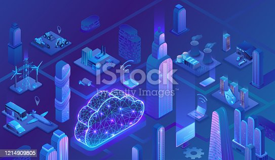 Smart grid city 3d isometric infographics, blue neon concept with solar panels and electricity pole, nuclear, thermal power plant, hydroelectric power station, transport system, 3d isometric icons