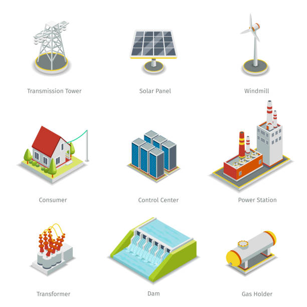 stockillustraties, clipart, cartoons en iconen met smart grid elements. power items vector set - hoogspanningstransformator