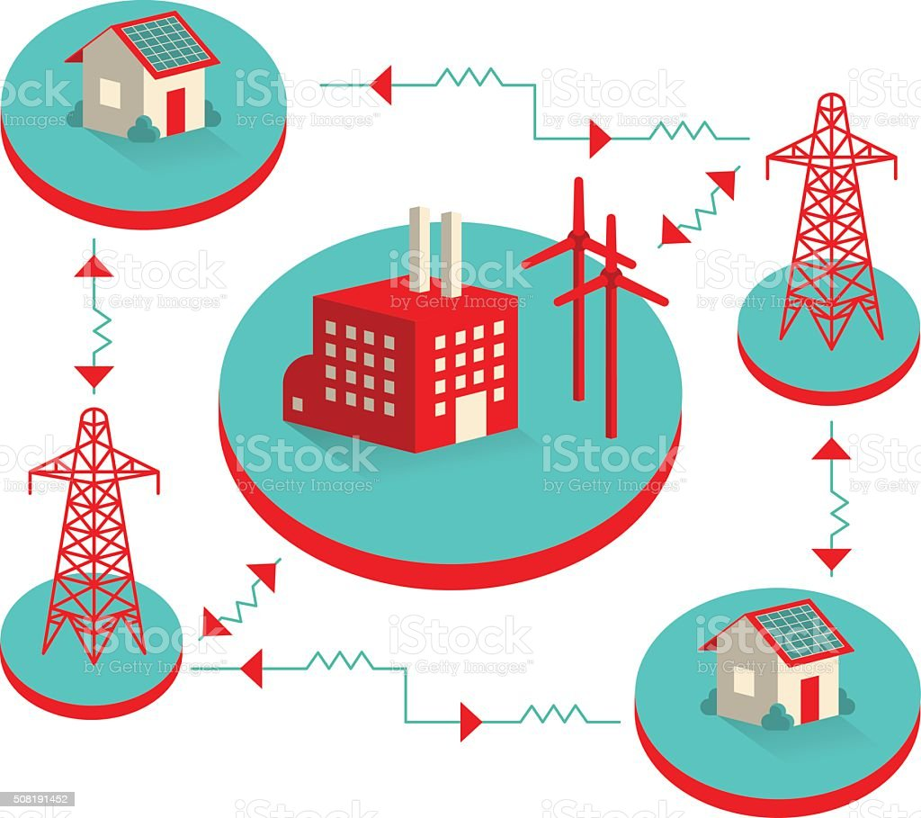 Smart Grid Illustration vector art illustration