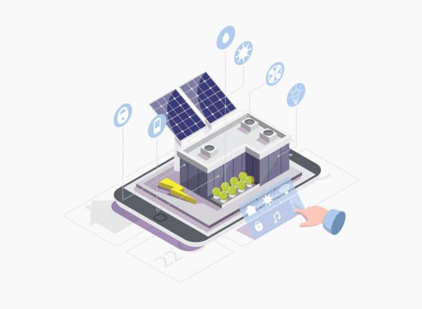 ilustrações de stock, clip art, desenhos animados e ícones de smart grid vector concept for web banner, website page - solar panel