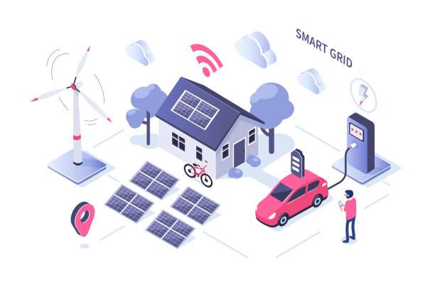 ilustrações de stock, clip art, desenhos animados e ícones de smart grid - solar panel