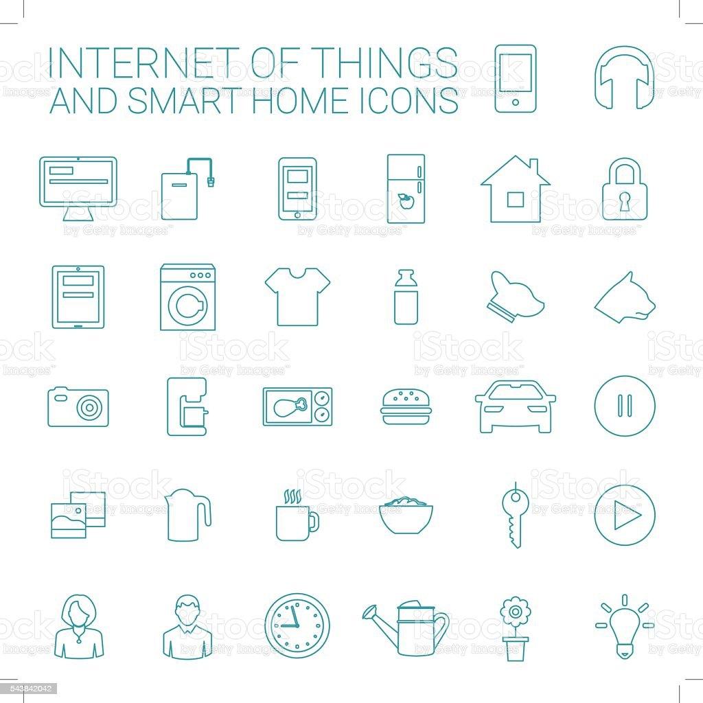 Intelligentes Zuhause Und Internet Dinge Symbolset Stock Vektor Art ...