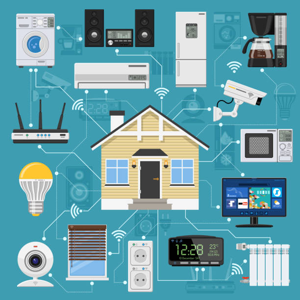 Smart Home and Internet of Things vector art illustration