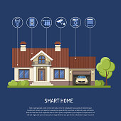 Smart Home and internet of things concept. Smart house controls security cam, lighting, radiator and music center flat icons. Isolated vector illustration