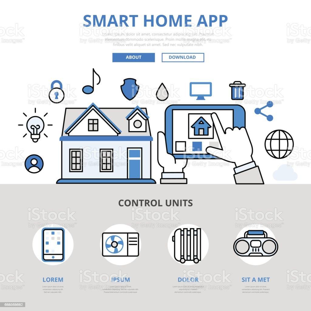Ilustraci n de aplicaci n m vil smart app casa gestionar sensor temperatura luz calefacci n agua - Temperatura ideal calefaccion casa ...