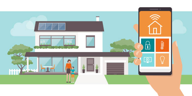 Smart home app Smart home app with control system, eco house on the background and family posing, technology and lifestyle concept solar panels illustrations stock illustrations