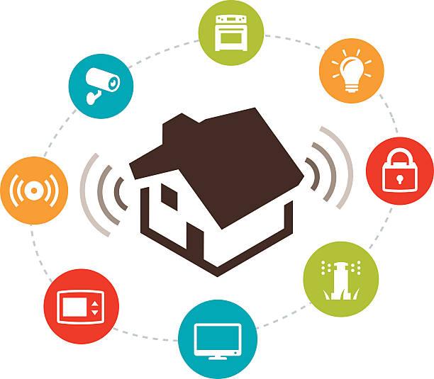 stockillustraties, clipart, cartoons en iconen met smart home automation illustration - alarm, home,