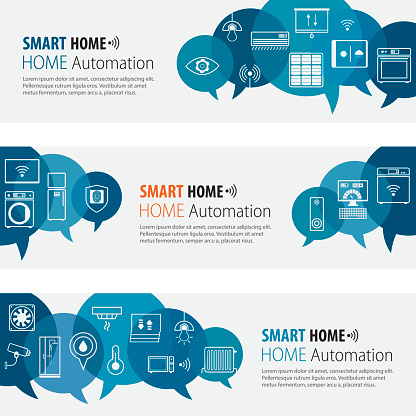 Smart Home Banners And Icons Set
