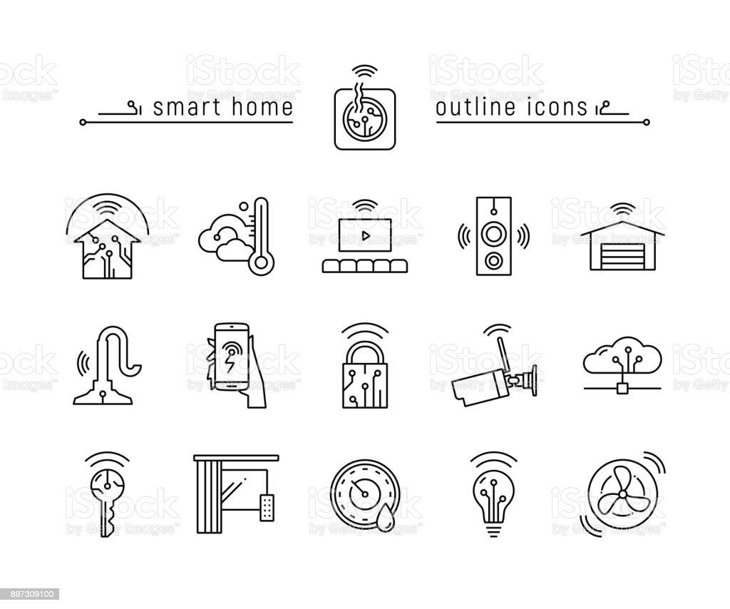 スマート ホーム黒概要アイコン アイコンのベクターアート素材や画像を