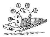 Hand-drawn vector drawing of a Smart Home Concept with a House On a Mobile Phone and small icons for Light, Electricity, Heating, Entertainment and Locking. Black-and-White sketch on a transparent background (.eps-file). Included files are EPS (v10) and Hi-Res JPG.