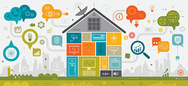 smart home concept linear - energy saving stock illustrations, clip art, cartoons, & icons