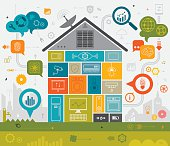 Vibrant vector illustration depicting home automation. Nicely layered.