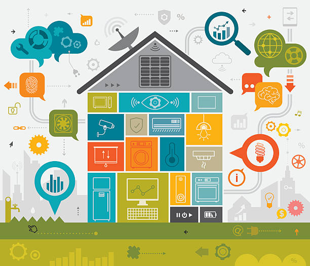 smart home concept - energy saving stock illustrations, clip art, cartoons, & icons