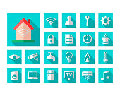 House with wi-fi signal and related icon set in flat design.