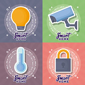 Icon set of smart home design over colorful circles, vector illustration