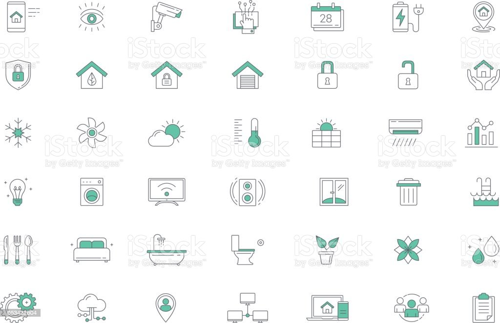Smart home, Home Automation Vector Line Icon set
