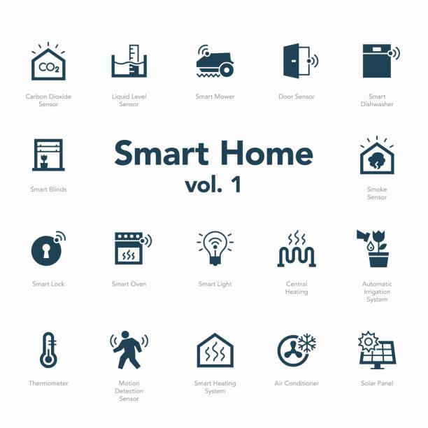illustrazioni stock, clip art, cartoni animati e icone di tendenza di smart home icon set volume 1 isolated on light background - sensore