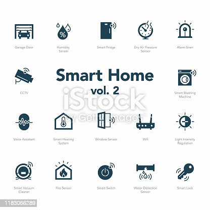 Smart home icon set volume 2 isolated on light background. Contains such icons Garage Door, Light Intensity Regulation, Voice Assistant, Humidity Sensor and more.