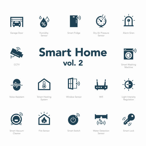 stockillustraties, clipart, cartoons en iconen met smart home icon set volume 2 geïsoleerd op lichte achtergrond - luchtvochtigheid