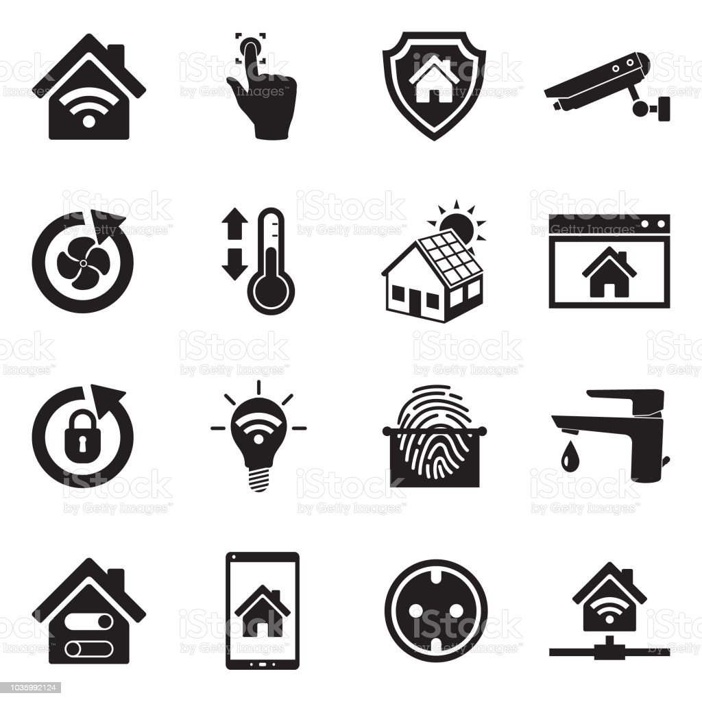 Smart Home Icons Black Flat Design Vector Illustration Stock