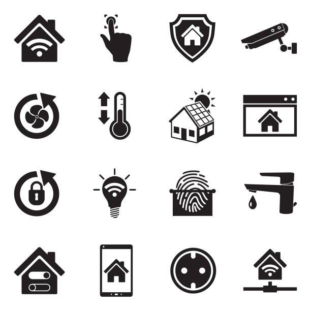 smart-home-symbole. schwarze flache bauweise. vektor-illustration. - rechtsassistent stock-grafiken, -clipart, -cartoons und -symbole