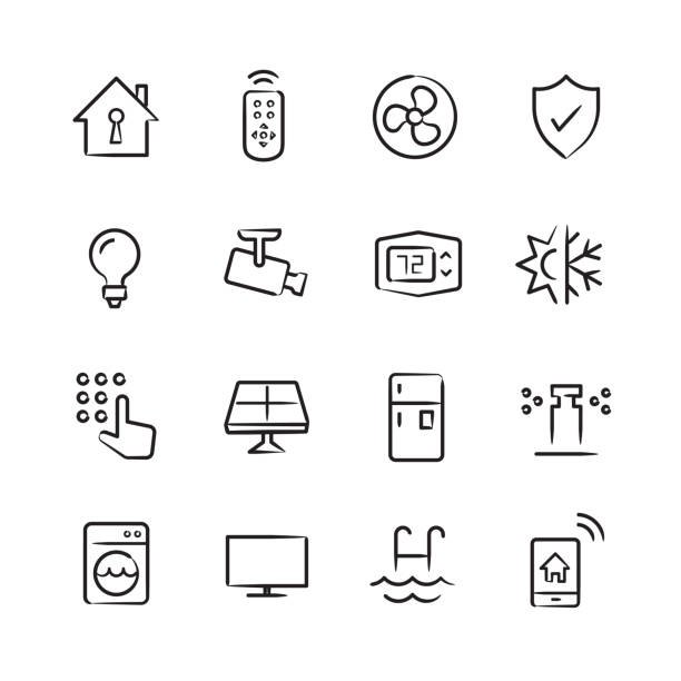 Smart Home Icons — Sketchy Series vector art illustration