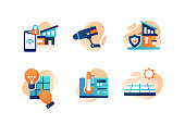 Set icons with smart house, camera, security, mobile phone controller, solar energy. Concept collection modern symbols for future home, internet, ad, web. Pixel perfect. Vector illustration