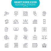 Automation, Smart home, Living Room, Electric Car, USA, Editable Stroke Icon Set
