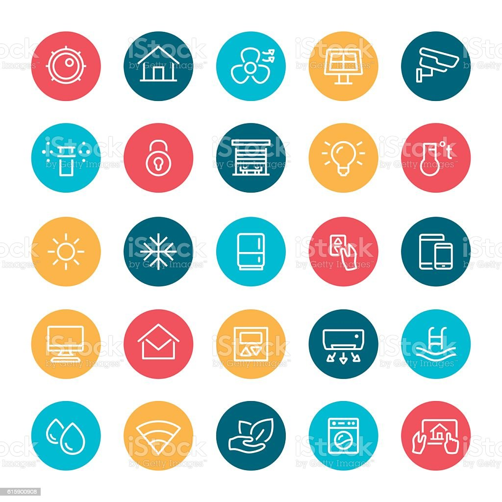 Smart Home Icons vector art illustration