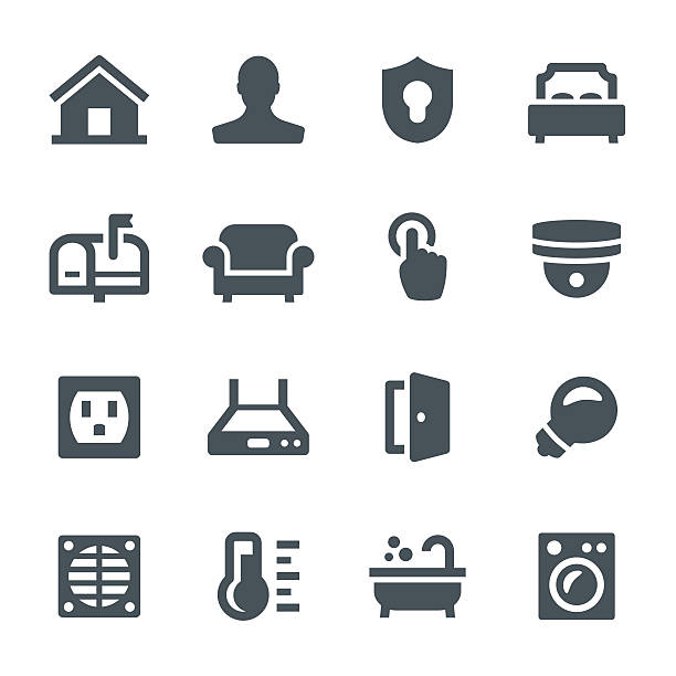 Smart Home Icons Smart home, house,  home automation, icon, icon set, technology bedroom icons stock illustrations