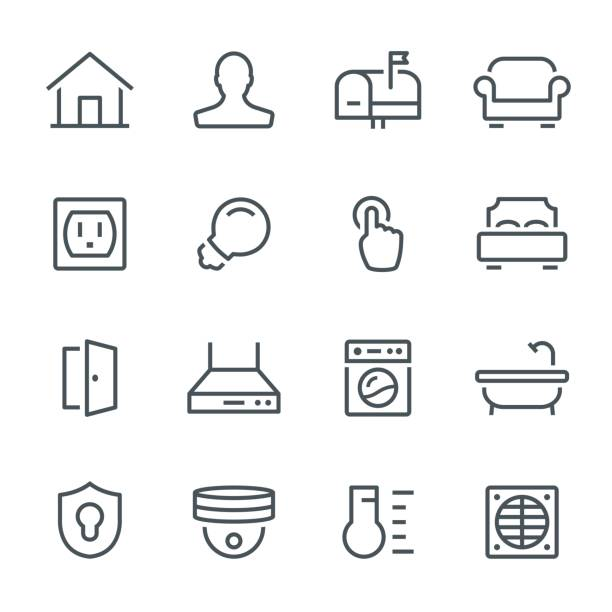 Smart Home Icons Smart home, house, home automation, icon, icon set, technology, line bedroom icons stock illustrations