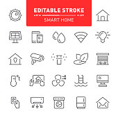 Smart home, home automation, house, editable stroke, icon, icon set, outline, technology