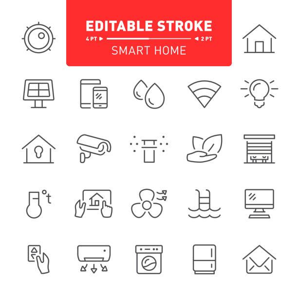 ilustrações de stock, clip art, desenhos animados e ícones de smart home icons - solar panel