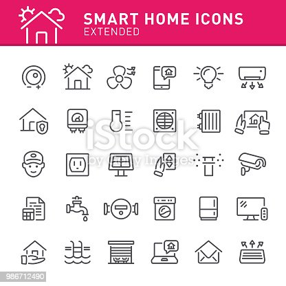 Smart home, house, home automation, icon, icon set, technology, line icon, home