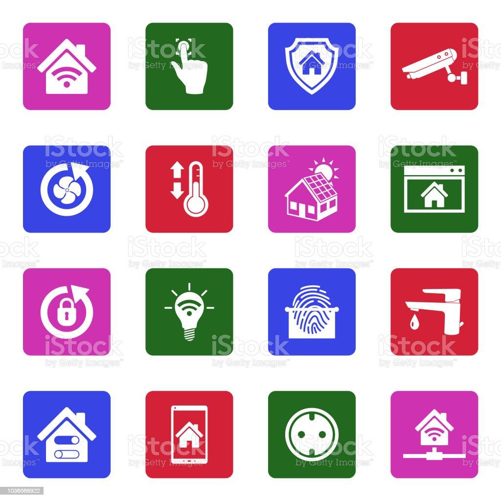 Smart-Home-Symbole. Weiße flache Design im Quadrat. Vektor-Illustration. – Vektorgrafik